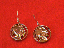 Indian Head Nickel Hand cut and 24 Kt Gold Plated made into Earrings