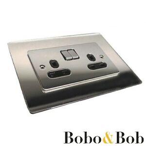 Silver Mirror Acrylic Socket Surround - Single or Double - Light Switch - Plug
