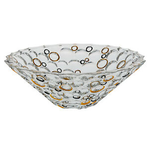 Modern Bohemian Crystal Crafted Decorative 12 Inches Bowl, Gold and Black Circle
