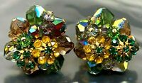 Vintage signed Vendome Green Yellow Rhinestone Gold Tone Clip Earrings