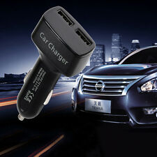 1x4 In 1 Black Dual USB Car Charger Adapter Voltage DC 5V 3.1A Tester For iPhone