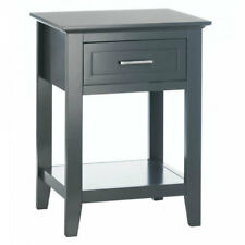 Crosstown Traditional Wood Drawer Side End Table White Grey Black Display Shelf Gray