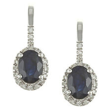 10k White Gold Genuine Blue Sapphire and Diamond Earrings (1/5 TDW)