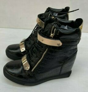 Ladies Noir Black Goth Style Rock Boots UK Size 7 NEW (W1)