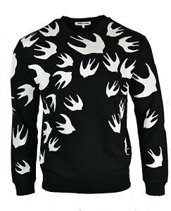 MCQ SWALLOW PRINT SWEATSHIRT JUMPER ALEXANDER MCQUEEN BLACK WHITE BIRD RARE