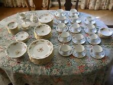 93 piece gold trimmed Haviland Moss Rose Dinner set