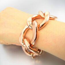 Chunky Glossy Rose Gold Tone Chain Link Metal Bracelet Women Fashion