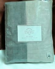 POTTERY BARN EMERY LINEN FRAMED BORDER CURTAIN DRAPE 50X84 - Flax /CHARCOAL