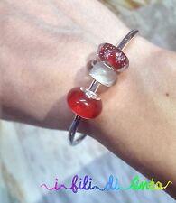 offerta bellissimo bracciale rigido, bangle, perle, beads, vetro, rosso
