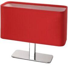 Moderno Lampada Tavolo Tessuto Ovale Cromo Rosso da Comodino Luce Notturna