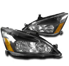03-07 HONDA ACCORD 2DR/4DR CRYSTAL STYLE HEADLIGHTS LAMP BLACK W/AMBER REFLECTOR