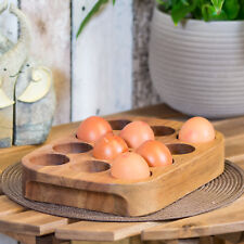 Solid Acacia Wood 12 Egg Holder Storage Rack Wooden Stand Box Kitchen Worktop