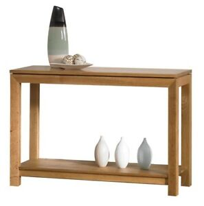 Solid Oak Console Table / Solid Oak Hallway Table / Bevel / New
