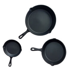 3 Piece Pre Seasoned Non- Stick Skillet Set Grill Round Fry Pan Black S247