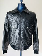 Vintage Bermans Black Leather Bomber Jacket Mens Size 42L