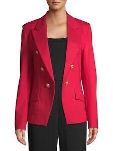 Attitude Unknown Women's Metallic Button Blazer, Red, Large