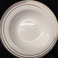 """CIROA CITOLI RIM SOUP BOWL 9"""" PLATINUM LINES ON WHITE AROUND RIM PLATINUM TRIM"""
