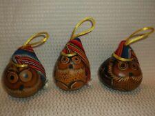 Set of 3 Vintage Hand Carved Burnt-Wood Gourd Owl Christmas Tree Ornaments