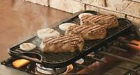 Lodge Seasoned Cast Iron Plates Reversible Grill Griddle 20x10.44 Inch Black