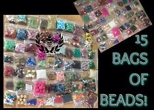Lot Of BEADS 15 Bags Jewelry Making Supplies Loose Mixed Glass Acrylic Metal 🖤