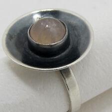 feiner MODERNIST DESIGN ROSENQUARZ SILBER RING um 1960 835 /1000 Silber