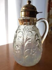 Beaumont Glass Flora Lidded Opalescent Syrup Pitcher c.1890's EAPG