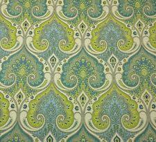 "KRAVET LATIKA POOL GREEN BLUE 100% LINEN DAMASK DESIGNER FABRIC BY THE YARD 54""W"