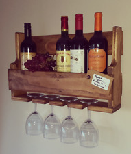 rustic reclaimed wall mounte wood wine rack bespoke shabby chic anniversary gift