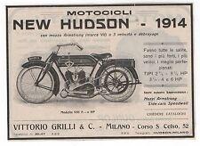 Pubblicità epoca 1914 MOTOCICLO NEW HUDSON old vintage advert werbung publicitè