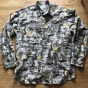 Mens Vintage 90s Columbia Fishing Brook Trout All Over Print Button Up Shirt 2XL