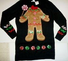 Ugly Christmas Sweater Tunic Dress Gingerbread Isela Whimsical Size Large NWT