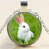 BUNNY white RABBIT ANIMAL HEAD pendant Sterling Silver 925 necklace female NEW
