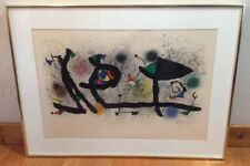 Joan Miro Spanish Artist 1893-1983 Sculptures 1970's Color Lithograph Framed
