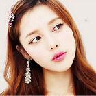 Korea Style Women's Pearl Rhinestone Dangle Chandelier Earrings Bridal Jewelry