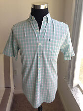 NWT Mens IZOD Aqua Blue White Checkered Short Sleeve Button Up Shirt Size SMALL