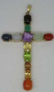 Beautiful 9ct Yellow Gold Large Mixed Gemstone Cross Pendant (Sapphire,Opal