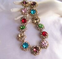 Glittering Vintage Style Multi Color Crystal  Rhinestone & Glass Necklace