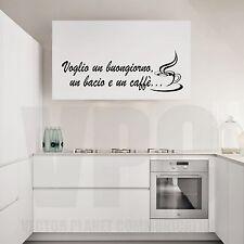 wall stickers adesivo frase buongiorno caffè bacio colazione cucina amore