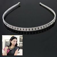 EG_ Crystal Rhinestone Wedding Bridal Diamante Tiara Headband Hair Band Clasp UK