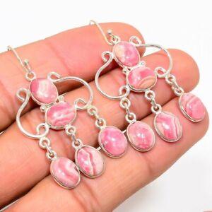 Rhodochrosite Gemstone Handmade 925 Solid Sterling Silver Jewelry Earring 2.01