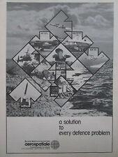 11/1981 PUB AEROSPATIALE ENGIN TACTIQUE PLUTON MILAN HOT AS 30L EXOCET ROLAND AD