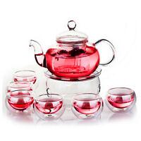 350mL-1000mL Heat Resistant Glass Teapot Infuser Tea Pot Set & 6 Cups & Warmer