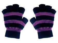 New Gothic 80s Goth Punk Psychobilly Purple Black Stripe Mens Fingerless Gloves