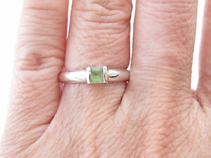Tiffany & Co RARE Silver Square Peridot Stacking Ring Size 6.5!