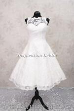 C268 short wedding dress bridal gown lace vintage below knee tea length 50s 60s