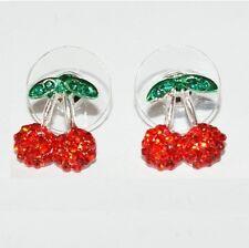 1X 1 Paire Boucles D/'Oreilles Pendentif Coréennes de Résine de Cerise Rouge I9J1