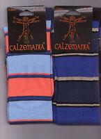 12 PAIA CALZE UOMO CALZEMANIA IN COTONE CALDO TAGLIA UNICA 40-45 MODELLO RIGATO