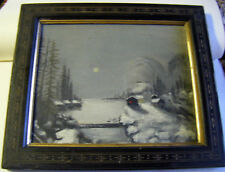 """antique oil painting """"cabin in the woods"""" snowy northern lakescape antq.FrameSEE"""
