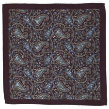 New Hand Rolled Wool Paisley Pocket Square Suit Handkerchief Three Colors A Set