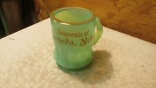 Antique Souvenir Green Glass Mug Geneva Nebraska